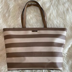 Kate Spade Beige and White Tote with zipper